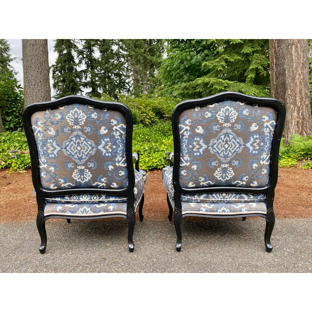 Louis XV Custom Upholstered Down Filled Bergere Chairs - a Pair For Sale In Seattle - Image 6 of 13