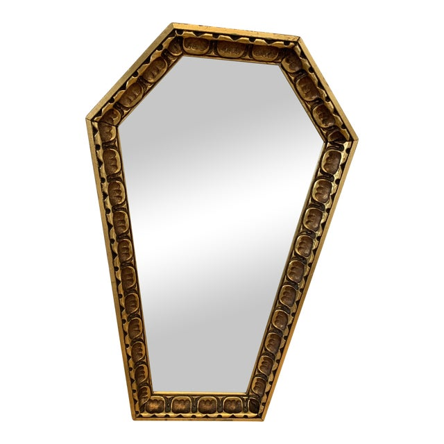 Gothic Wood Coffin Shaped Mirror For Sale