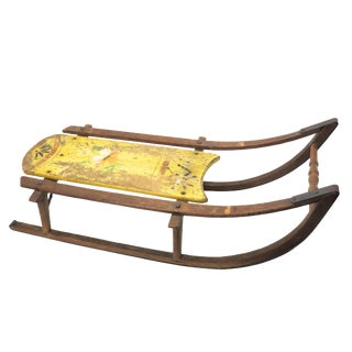 Unusual Small Size Antique Childs Snow Sled For Sale