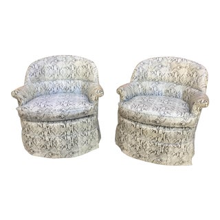 French Faux Snake-Skin Club Chairs - a Pair For Sale