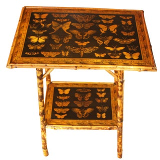Boho Chic 2-Tier Bamboo Table Decoupaged With Butterflies For Sale