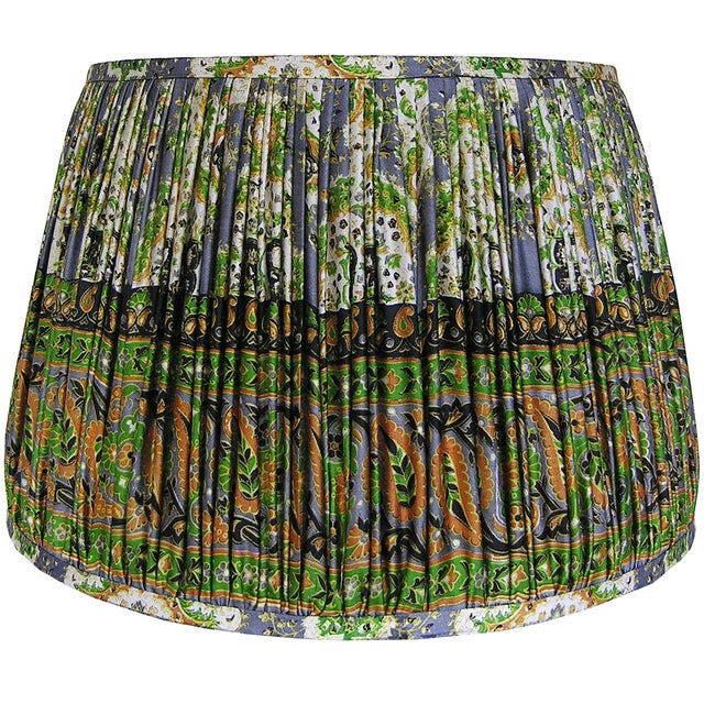 DETAILS: - New, handcrafted, gathered lamp shade - Fabric: Vintage, 100% silk sari. Colors include green, mustard, and...