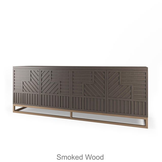 Not Yet Made - Made To Order Stria Credenza - Brushed Brass Base, Smoke Wood OAK For Sale - Image 5 of 5