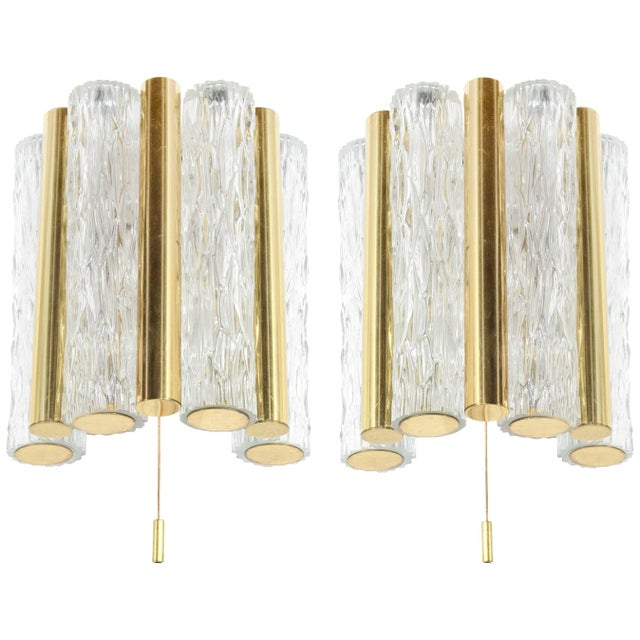 Gold 1950s Germany Murano Glass and Brass Sconces by Doria Leuchten - a Pair For Sale - Image 8 of 8