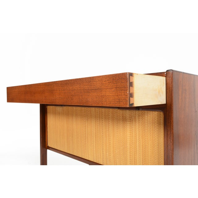 Danish Modern Teak and Grasscloth Entry Chest - Image 9 of 10
