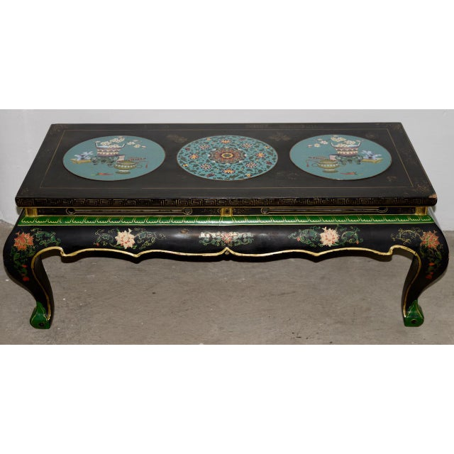 Black 1940s Vintage Black Lacquer & Turquoise Blue Cloisonne Chinese Coffee Table For Sale - Image 8 of 8