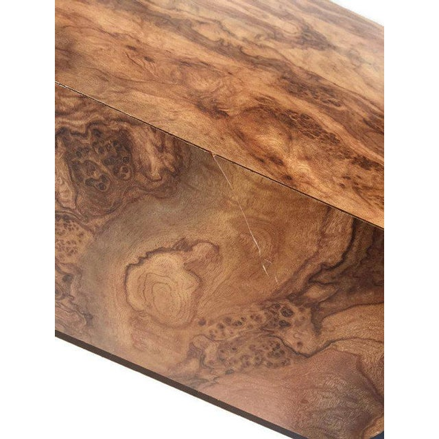 "Vintage Burl Wood Coffee Table Floating Cube Pedestal Cocktail Table - 36"" For Sale In Richmond - Image 6 of 13"