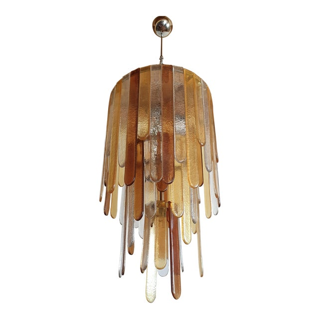 Large Mid Century Modern Murano Glass Chandelier By Mazzega