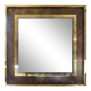 Italian Romeo Rega Style Mid-Century Modern Square Brass Mirror For Sale
