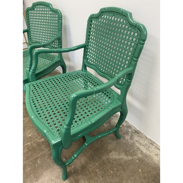 Vintage Green Lacquered Cane Chairs - a Pair For Sale - Image 11 of 13