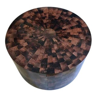 Vintage Drum Coffee Table Faux Tortoiseshell Mosaic Style Modern Hollywood Regency For Sale