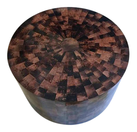 Merveilleux Vintage Drum Coffee Table Faux Tortoiseshell Mosaic Style Modern Hollywood  Regency For Sale