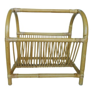 Curved Light Bamboo Magazine Rack/Holder Mid Century For Sale
