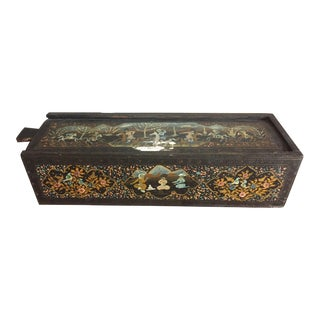 1930s Persian Hand Painted Wooden Pencil Box For Sale