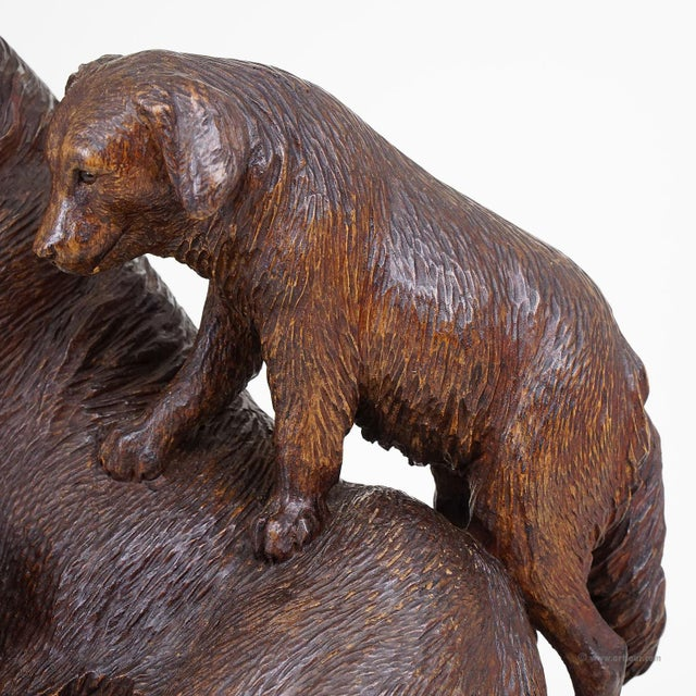 1900 - 1909 Black Forest Carved Mother Dog With Puppies - Brienz Ca. 1900 For Sale - Image 5 of 10