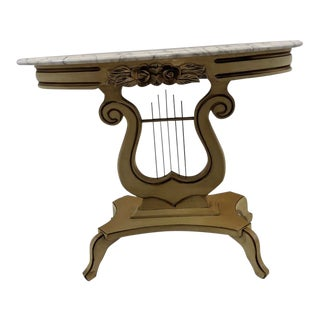 Victorian Painted Marble Top Lyre Harp Base Table French Provincial For Sale