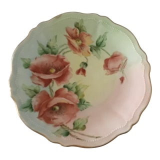 Antique Hand Painted Scalloped and Beaded Floral Austrian Plate For Sale