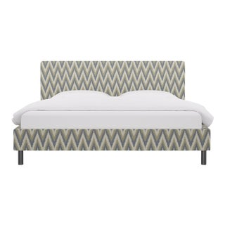 King Tailored Platform Bed in Chevron Ikat By Scalamandre For Sale