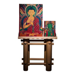 """Thomas Laird """"Murals of Tibet"""" Painting Collection Autographed by the Dalai Lama Collector's Edition with Book Stand For Sale"""