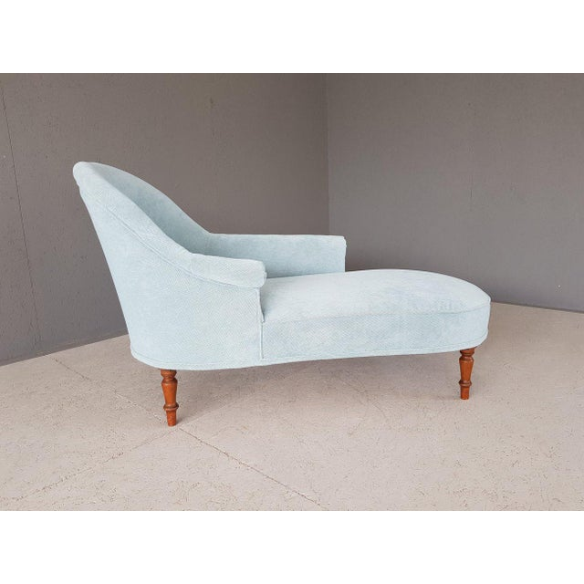 Mid 20th Century Upholstery Blue French Style Chaise Lounge For Sale - Image 5 of 13