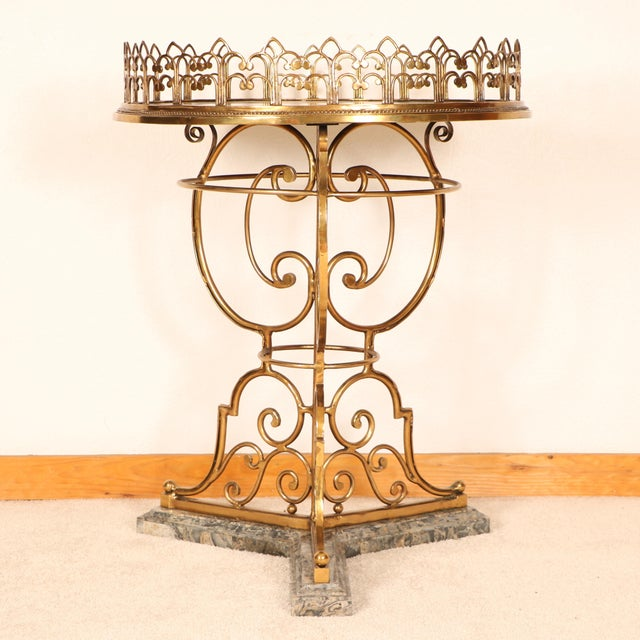 Baroque Brass & Marble Center Table For Sale - Image 3 of 11