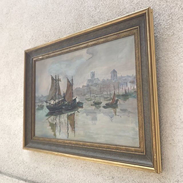 Mid-Century Sailboats in Harbor Framed Painting - Image 6 of 7