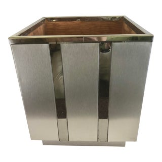 1970's Paul Evans Style Brushed Metal & Chrome Accent Planter For Sale