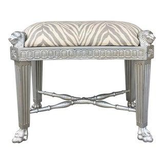 1970s Vintage Victorian Silver Carved Lion Leg Sitting Stool For Sale