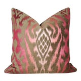 Image of Raspberry Mocha Silk Velvet Ombre Ikat Bolster Pillow Cover For Sale