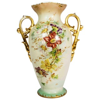 Antique French Porcelain Decorative Vase / Piece With Handle For Sale