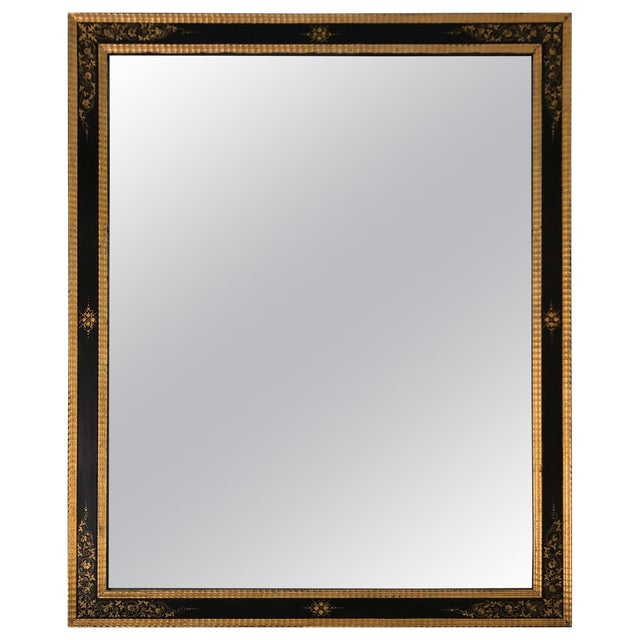 Magnificent Large Black and Gold Regency Style Mirror For Sale