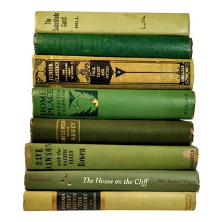Vintage Mid Century Green Books- Set of 8 For Sale