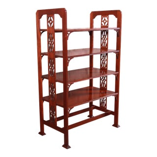 Baker Furniture Historic Charleston Carved Mahogany Four-Tier Étagère or Occasional Side Table For Sale