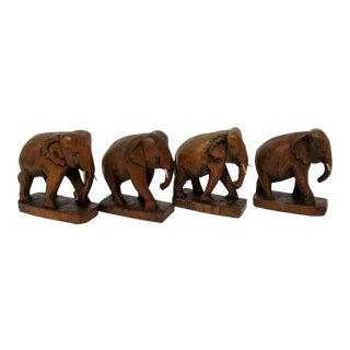 Teak Wood Elephants, Set of 4 For Sale