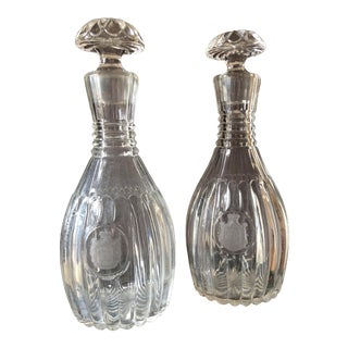 Crystal Decanters With Etched Crest - a Pair For Sale