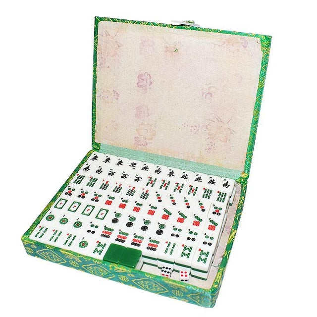 Chinoiserie Mid 20th Century Mahjong Game Set in Green Satin Brocade Carrying Case and Green Back Tiles For Sale - Image 3 of 7