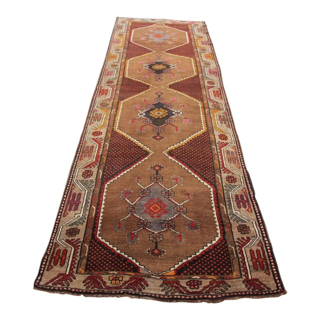 Vintage Tribal Turkish Hand Knotted Rug - 4' X 12'2 For Sale