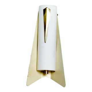Mid-Century Modern Italian Wall Sconce in Aluminum and Glass For Sale