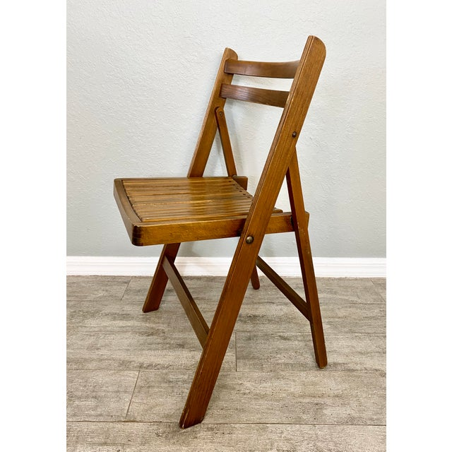 1960s Mid Century Modern Slat Back Folding Chairs - a Pair For Sale - Image 5 of 9