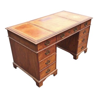 Vintage Baker Tooled Leather Top Walnut English Georgian Style Desk