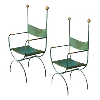Campaign Chairs with Green Leather and Gilt Trim, France, 1940s - a Pair