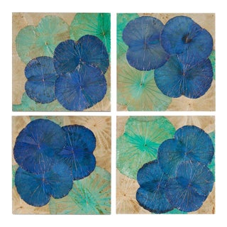 Contemporary Lotus Leaf Wall Art - Set of 4 For Sale
