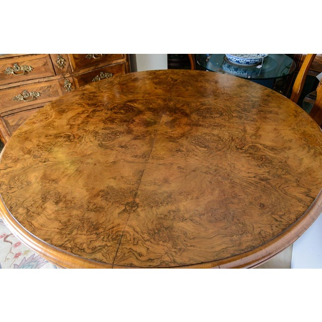 English Walnut & Burl Round Center Table For Sale In West Palm - Image 6 of 8