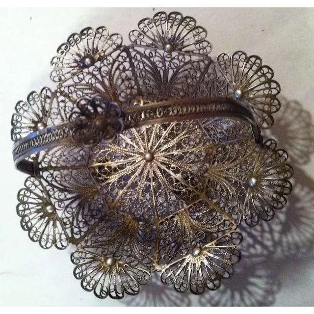 Metal Lovely Doll's Silver Filigree Handled Basket For Sale - Image 7 of 9