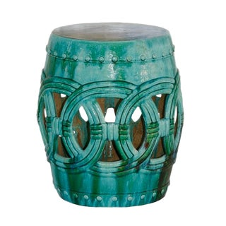 Turquoise Rope Garden Stool