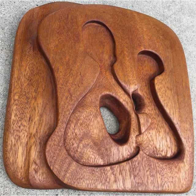 Contemporary 1950s-1960s Vintage Freeform Carved Wood Panel Wall Hanging Plaque For Sale - Image 3 of 10
