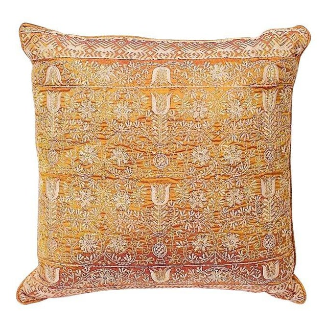 This exquisite pillow has been meticulously and artfully embroidered on handwoven silk in two colors of silk in the weft...