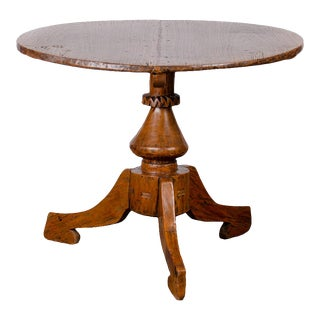 20th Century Dutch Colonial Teak Wheel Hub Pedestal Table For Sale