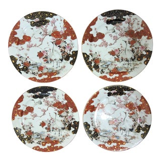 1880's Antique Japanese Kutani Red Crowned Crane Porcelain Asian Plates - Set of Four (4), Meiji For Sale