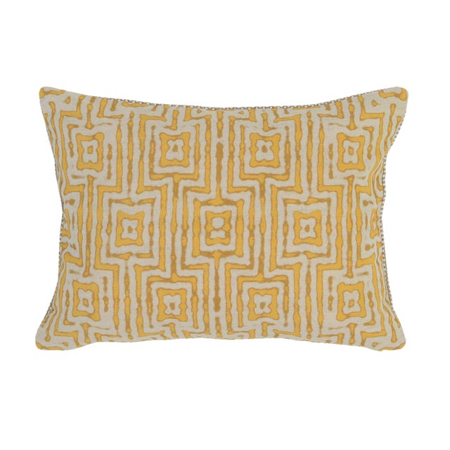 Marigold Patterned Linen Pillow - Image 1 of 2